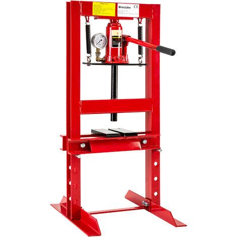 Prensa de taller 6t - prensa hidráulica con manómetro, prensa de acero lacado con válvula de desagüe, prensa para taller mecánico para prensar rodamientos - rojo