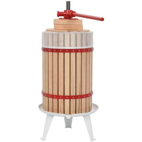 Prensa de vino y fruta con paño de tela 24 L madera de roble