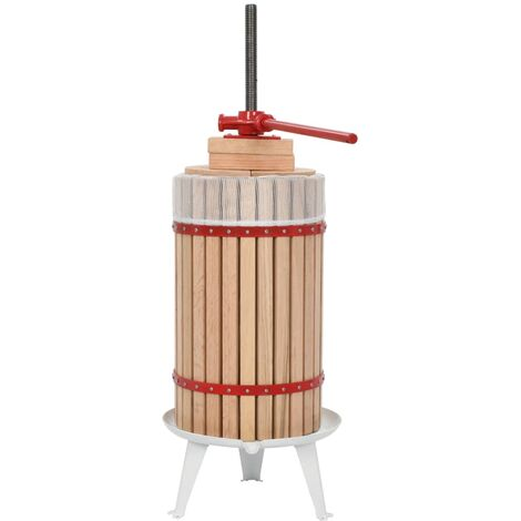 Prensa de vino y fruta con paño de tela 30 L madera de roble