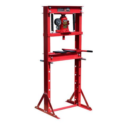 Prensa hidráulica de taller 20T con indicador de presión Prensar Doblar Estampar Trabajos en metal