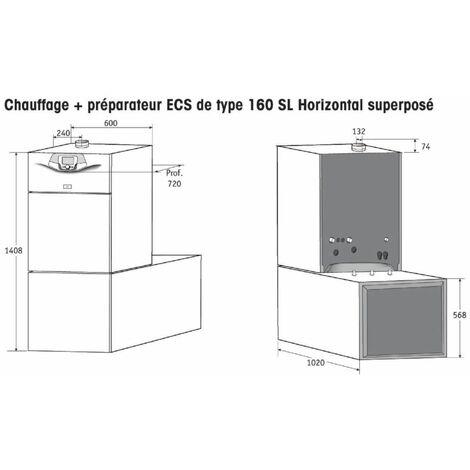Préparateur ECS horizontal pour ODIA & BORA NOVA HTE 160 litres 160SLH