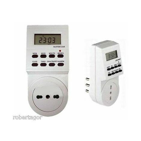 Presa elettrica 230 v temporizzata con timer settimanale e 24 ore programmabile