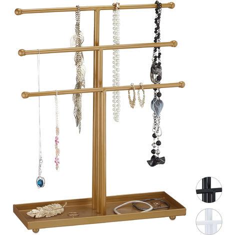 Présentoir à bijoux, 3 barres, colliers, boucles d'oreilles & bracelets, organisateur métal, doré