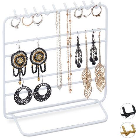 Présentoir à bijoux, boucles d'oreille, bracelets, rangement, organisateur, 21 x 20 x 10 cm, blanc