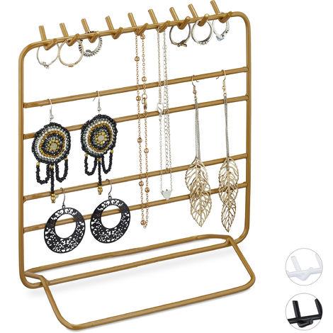 Présentoir à bijoux, boucles d'oreille, bracelets, rangement, organisateur, 21 x 20 x 10 cm, doré