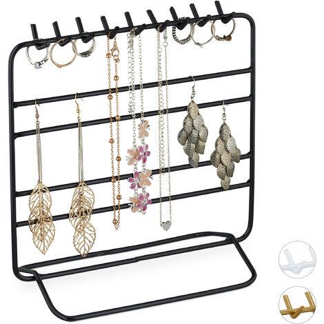 Présentoir à bijoux, boucles d'oreille, bracelets, rangement, organisateur, 21 x 20 x 10 cm, noir