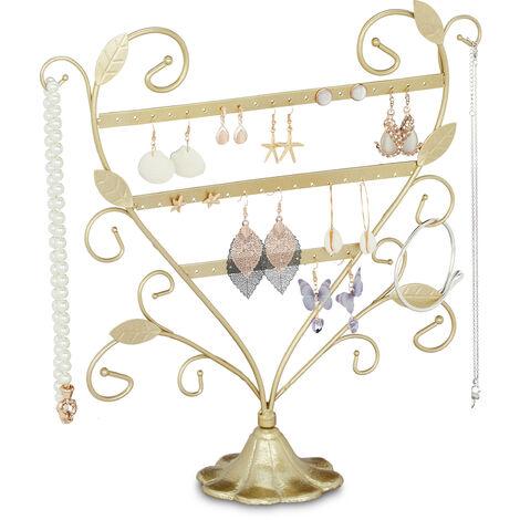 Présentoir à bijoux, pour colliers, boucles d'oreilles & bagues, porte-bracelets, fer, 32x31x10 cm, couleurs