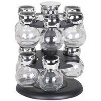 Présentoir a épices rotatif double niveau - 12 pots en verre