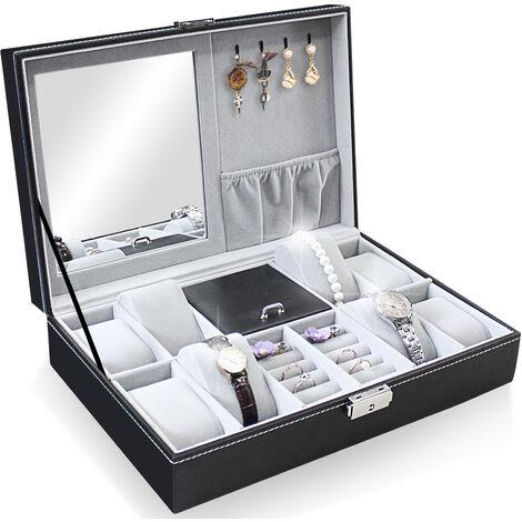 Présentoir à Montres et Bijoux, Boîte à Bijoux et Montres, 8 montres, bijoux et miroir, Gris, Dimensions: 30 x 20 x 8 cm