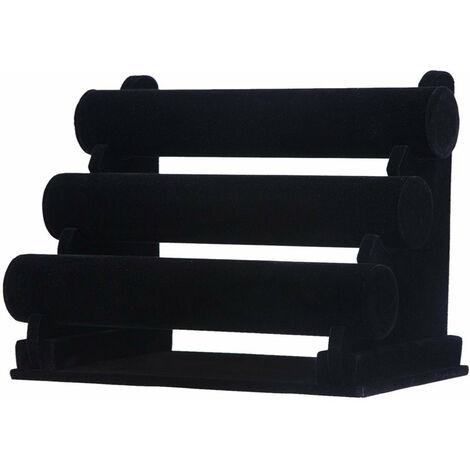 Présentoir porte bijoux support 3 rouleaux noir 32,5 cm - Noir