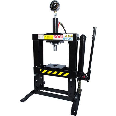 Pressa idraulica manuale da banco sogi p10 m da 10 ton for Pressa idraulica manuale