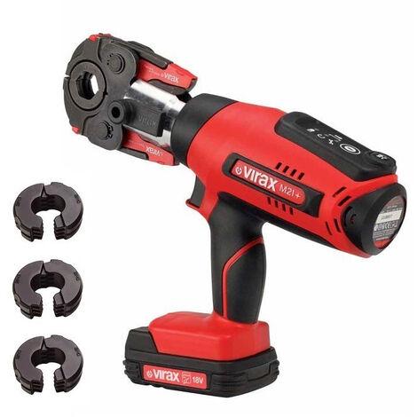 Presse à sertir Viper® M21+ VIRAX + pince mère + 2 batteries + inserts au choix-U Ø16-20-25 (multicouche) - 253514