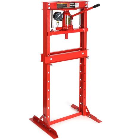 Presse d'atelier hydraulique Manomètre intégré Force de pression 12T Règlable en hauteur Atelier