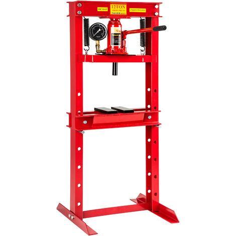 Presse Hydraulique d'Atelier 12 Tonnes avec 7 Niveaux de Réglage + Manomètre
