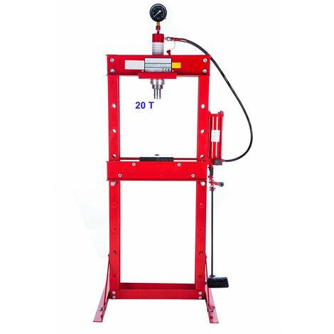 Presse hydraulique d'atelier 20 tonnes rouge commande au pied