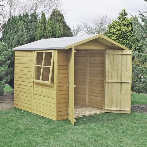 Pressure Treated Overlap Garden Shed Approx 7 x 7 Feet