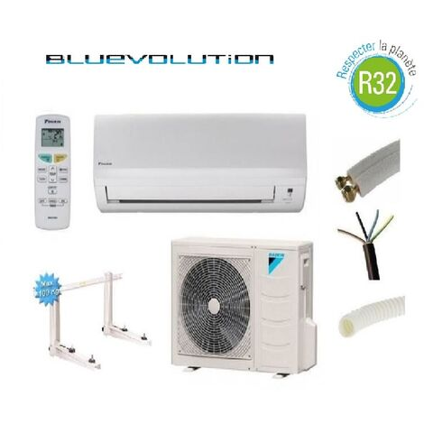 PRET A POSER CLIMATISATION DAIKIN 5000W R32 BLUEVOLUTION REVERSIBLE FTXF50A + KIT DE POSE 10 METRES + SUPPORT MURAL
