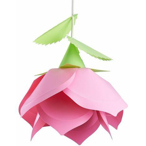 Pretty Children'S Bedroom Pink Petal Garden Flower + Green Leaf Detail Ceiling Lamp Pendant Light Shade - Pink