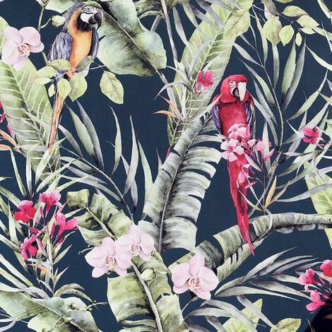 Pretty Polly Wallpaper Arthouse Tropical Navy Parrot Floral Jungle Pink Vinyl