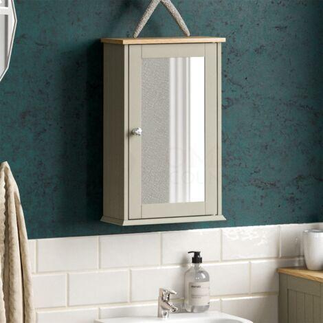 "main image of ""Priano 1 Door Mirrored Wall Cabinet, Grey"""