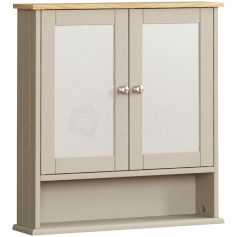 Priano 2 Door Mirrored Wall Cabinet With Shelf, Grey