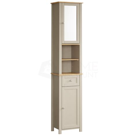 Priano 2 Door Tall Cabinet With Mirror, Grey