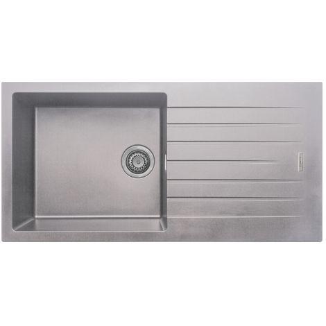 Prima 1000x500 1Bowl Granite Inset Reversible Kitchen Sink Light Grey