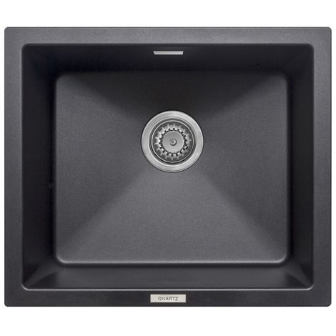 Prima 555x457 1 Bowl Granite Undermount Kitchen Sink Black
