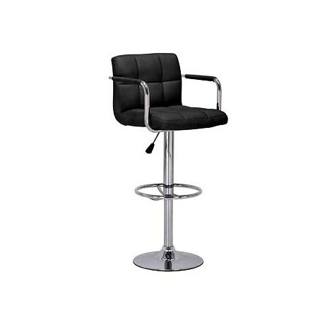 Prime Adjustable Bar Stool - Black Padded Seat With Arms