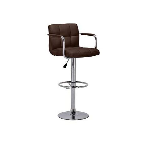 Prime Adjustable Bar Stool Brown Padded Seat With Arm Rests