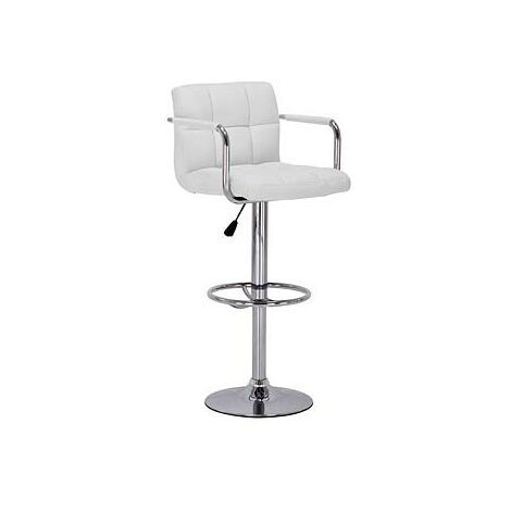 Prime Bar Stool With Arms White Seat Adjustable Height