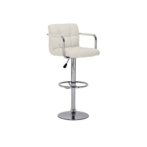 Prime Cream Height Adjustable Bar Chair Stool Padded Seat With Arms