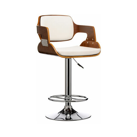 Prime Walnut And White Bar Stool Height Adjustable