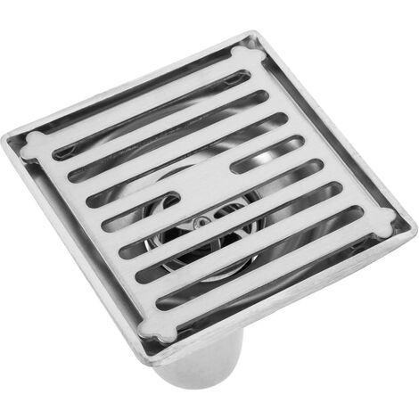 PrimeMatik - 10x10cm drain with 9 cm valve and removable shiny stainless steel grid