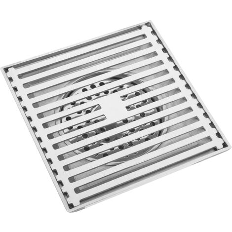 PrimeMatik - 15x15cm drain with removable shiny stainless steel grid
