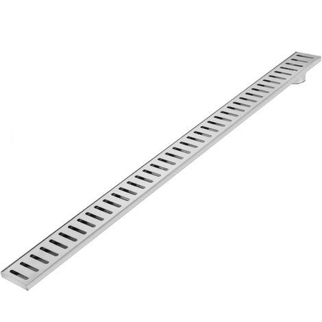 PrimeMatik - 7.5x100cm floor drain gutter with matte stainless steel grid