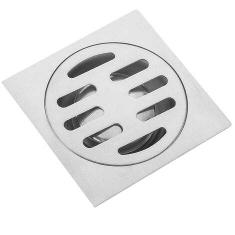 PrimeMatik - 7.5x7.5cm drain with cap and removable shiny stainless steel grid