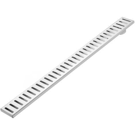 PrimeMatik - 7.5x80cm floor drain gutter with matte stainless steel grid