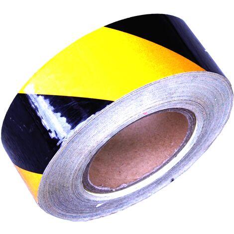 PrimeMatik - Adhésif réfléchissant bande de marquage jaune 48m 5cm noir