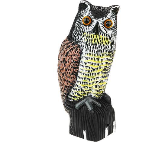 PrimeMatik - Ahuyentador de aves tipo estatua búho con sonido y ojos reflectantes 40cm hembra