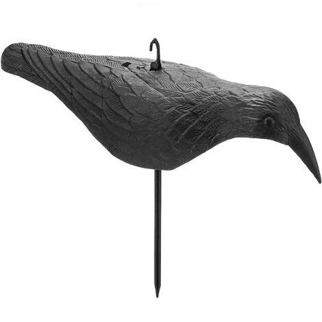 PrimeMatik - Ahuyentador de aves tipo estatua cuervo en movimiento para jardín