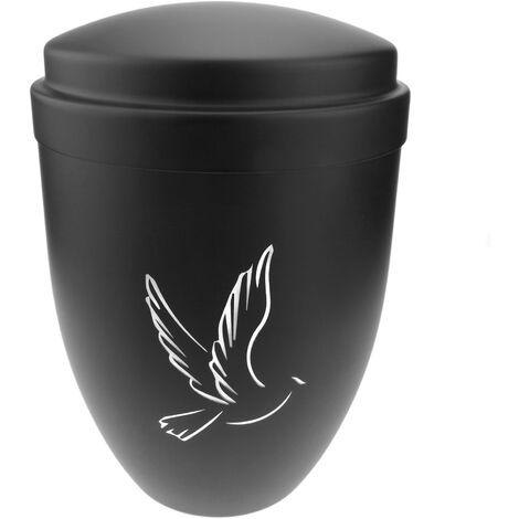 PrimeMatik - Andenken Urne für Beerdigung Asche Memorial Kremation Schwarz metall Gefäss 160x225 mm