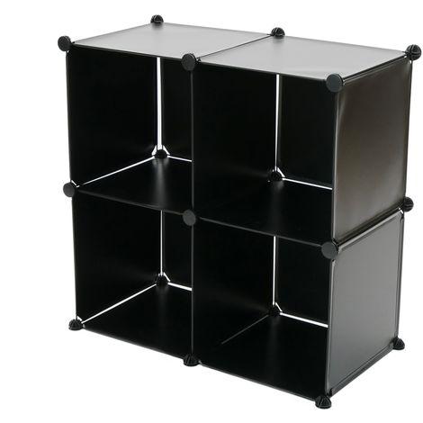 PrimeMatik Armario Organizador Modular Estanter/ías de 4 Cubos de 35x35cm 17x35cm pl/ástico Negro con Puerta