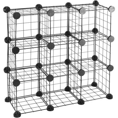 PrimeMatik - Armario organizador modular Estanterías de 9 cubos de 17x17cm metal negro