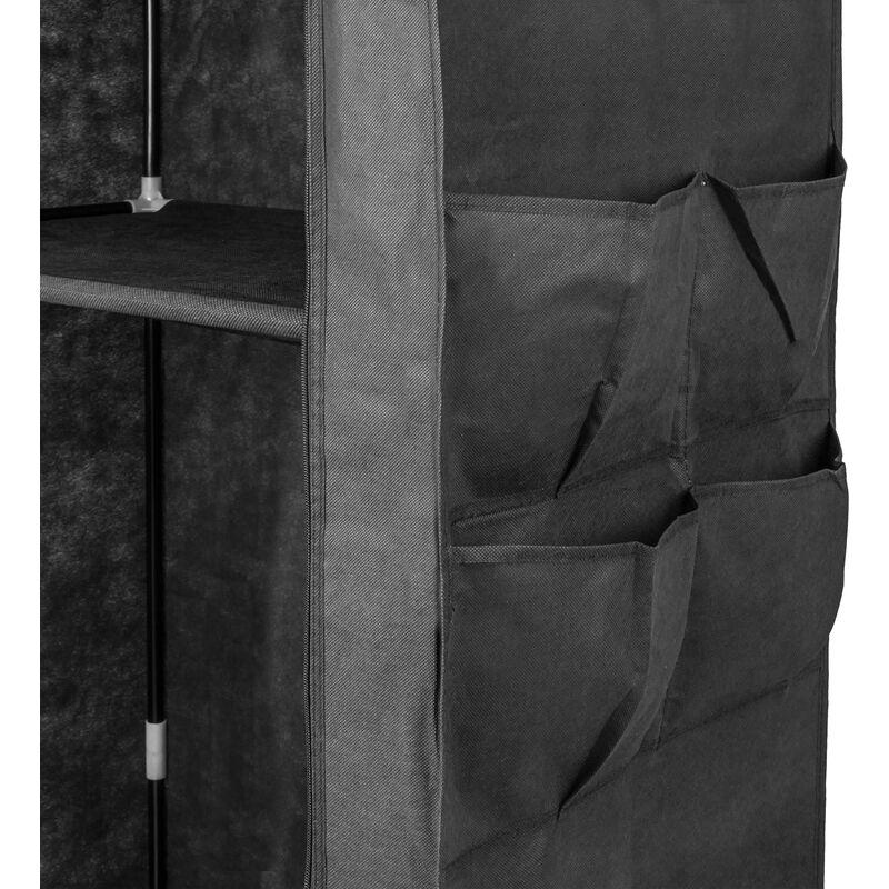 Armario ropero guardarropa de Tela Desmontable 70 x 45 x 155 cm Negro PrimeMatik
