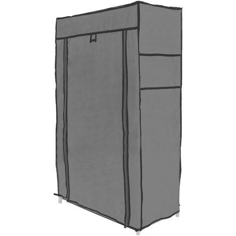 PrimeMatik - Armario ropero y zapatero de tela desmontable 60 x 30 x 110 cm gris con puerta enrollable