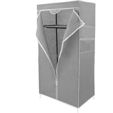PrimeMatik - Armoire de rangement en tissu 70 x 45 x 155 cm gris
