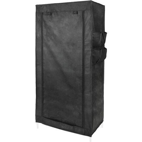 PrimeMatik - Armoire de rangement en tissu 70 x 45 x 155 cm noir avec porte rouleau
