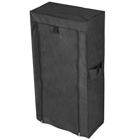 PrimeMatik - Armoire de rangement et chaussures en tissu 60 x 28 x 124 cm noir avec porte rouleau
