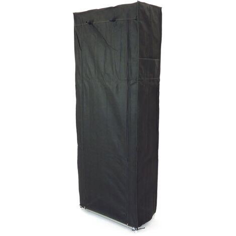 PrimeMatik - Armoire de rangement et chaussures en tissu 60 x 30 x 160 cm noir avec porte rouleau